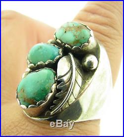 Vintage Old Pawn Signed M Chuyat Green Royston Turquoise Mens Ring Sz 11 19.8g