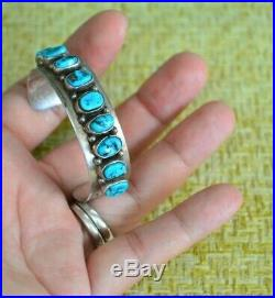 Vintage Old Pawn Sterling SB Sam Begay Turquoise Small Child's Cuff Bracelet