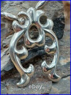 Vintage Old Pawn Sterling Silver Naja Bench Bead Pendant Necklace Navajo Native