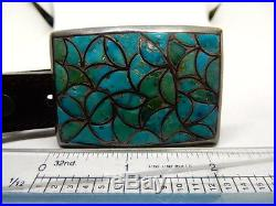 Vintage Old Pawn Sterling Silver Turquoise Inlay Belt Buckle and Bolo Tie Set