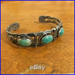 Vintage Old Pawn Sterling Triple Green Turquoise Thunderbird Cuff Bracelet
