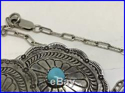 Vintage Old Pawn Turquoise Stamped Sterling 5 Conchos 18 Chain Necklace