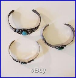 Vintage Older Native American Sterling Silver Bracelet Lot