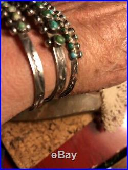 Vintage Older Sterling (Lot Of 3) Petit Point Snake Eyes Pawn Cuff Bracelets