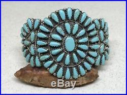 Vintage Paul Jones Navajo Sterling Petit Point Turquoise Cluster Cuff Bracelet