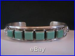 Vintage Pawn Navajo Sterling Silver Green Turquoise Row Cuff Bracelet Signed