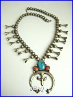 Vintage Pawn Sterling Morencie Turquoise Coral Squash Blossom NecklaceFREE SHIP