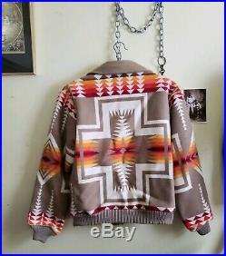 Vintage Pendleton Chief Joseph Navajo Native American Wool Jacket Coat Cream M