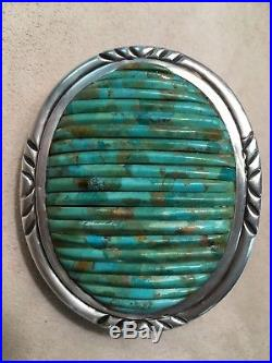 Vintage Pete Sierra Navajo Sterling Silver Turquoise Cornrow Cuff Belt Buckle