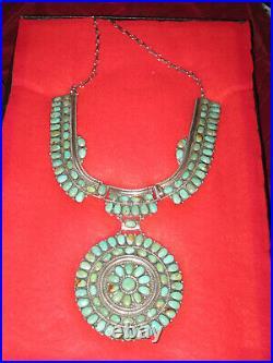 Vintage Petit Point Squash Blossom Necklace
