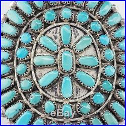 Vintage Petit Point Zuni Native American Turquoise Cuff Bracelet