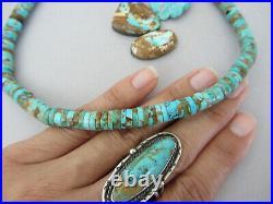 Vintage Pinto Boulder Royston Turquoise Heishi 23.75 LONG Navajo Bead Necklace