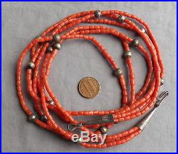 Vintage Pueblo 3 Strand Coral Silver Bench Bead Necklace