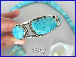 Vintage RARE Birdseye Spiderweb Turquoise Navajo Sterling 7 Bracelet Cuff