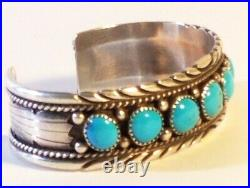 Vintage RB Navajo Sterling Silver Sleeping Beauty Turquoise Cuff Bracelet