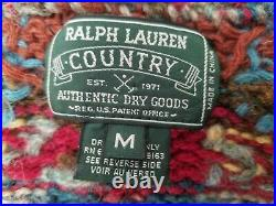 Vintage Ralph Lauren Country Belted Cardigan, Native Horses, Size M