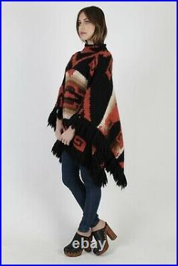 Vintage Ralph Lauren Southwestern Native American Black Blanket Knit Wool Poncho