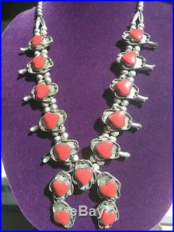 Vintage Red Coral Heart Shadowbox Nickel Silver Squash Blossom