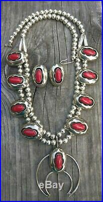 Vintage Red Coral Shadowbox Nickel Silver Squash Blossom & Earrings Sgnd O Grey
