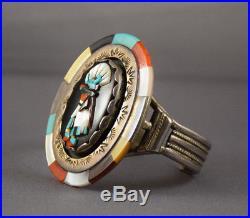 Vintage Ronnie & Olivia Calabaza/Calavaza Zuni Silver 3D Inlaid Kachina Bracelet