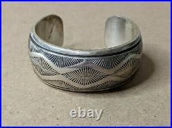 Vintage SIGNED AJ BLACKGOAT Native American Sterling Stamp Cuff Bracelet Navajo