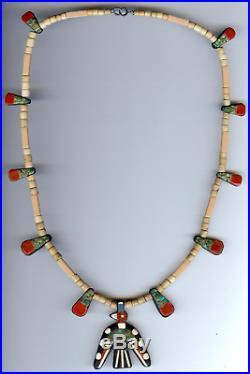 Vintage Santo Domingo Mixed Materials Thunderbird Necklace