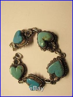 Vintage Signed L Ganado Navajo Sterling Silver 925 & Turquoise Bracelet