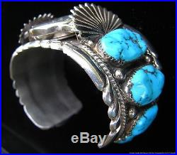 Vintage Signed Native American Indian Zuni Sterling Silver Turquoise Watch Cuff