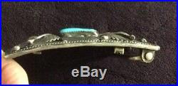 Vintage Signed Navajo Native American Silver Turquoise Belt Buckle 3 x 2