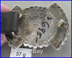 Vintage Signed Navajo Sterling Silver Concho Belt, Hand Stamped