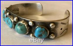 Vintage Signed Navajo Sterling Silver Darling Darlene Turquoise Cuff Bracelet