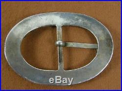Vintage Signed Zuni Native American Turquoise Oval Belt Buckle