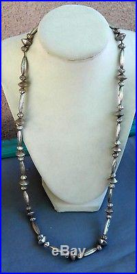 Vintage Silver Native American Melon Fluted Saucer Benchmade Bead Necklace 28