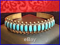 Vintage Southwestern COPPER Turquoise CUFF BRACELET ZUNI needlepoint