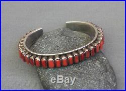 Vintage Southwestern NA Sterling Silver 35 Coral Row Cuff Bangle Bracelet
