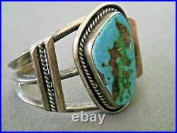 Vintage Southwestern Native American Turquoise Sterling Silver Cuff Bracelet