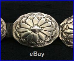 Vintage Sterling 16 Silver Concho Belt Fred Harvey Era