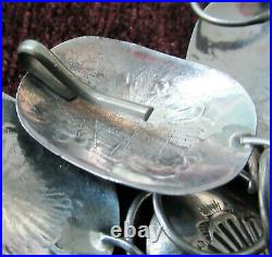 Vintage Sterling Concho Belt, 37 Inches, 17 Conchos 1 3/8 By 1 Inches, 66 Grams
