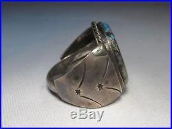 Vintage Sterling Mens Huge Old Pawn Navajo Morenci Turquoise Ring Sz 10 C489