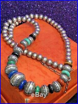 Vintage Sterling Signed Carolyn Pollack Native American Necklace Stamped Bench