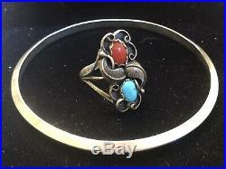 Vintage Sterling Signed Native American Coral Turquoise Ring & Bracelet Bangle