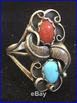 Vintage Sterling Signed Native American Coral Turquoise Ring & Bracelet Bangle