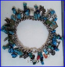 Vintage Sterling Silver 925 Turquiose, Lapis Lazuli Charm Bracelet 70.3 Grams