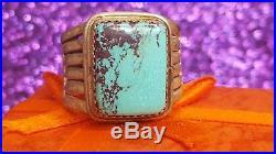 Vintage Sterling Silver Bisbee Turquoise Ring Gemstone Signed Ebe Brown Matrix