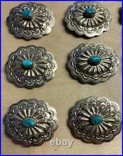 Vintage Sterling Silver Concho Belt 19 Pieces Turquoise Southwestern Unsigned