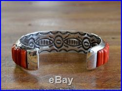 Vintage Sterling Silver Coral Inlay Cuff Bracelet