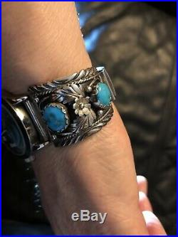 Vintage Sterling Silver MENS Native American Western TURQUOISE Watch Band