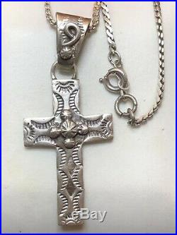 Vintage Sterling Silver Native American Cross Signed Vb Necklace Pendant Navajo
