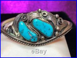 Vintage Sterling Silver Native American Cuff Bracelet Signed Kingman Turquoise