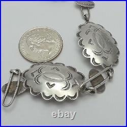 Vintage Sterling Silver Native American Hopi Concho Belt Adjustable to 32 Inch